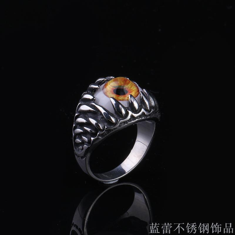 欧美恶魔之眼不锈钢戒指 欧美风创意男士钛钢戒指图片