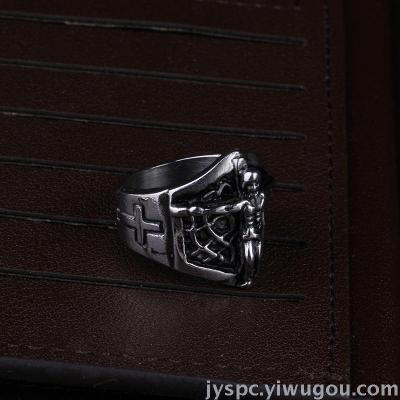 Europe and the United States and the influx of people religious style Christian Jesus ring titanium steel men ring ring