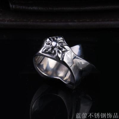 Europe and the United States foreign trade retro titanium steel five-pointed men's ring men's ring totem ring