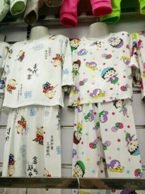 Summer air conditioning service children in cotton cuff Capris pajamas