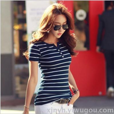 Large size women's summer new cardigan small V-neck three rows of diamond buttons striped short-sleeved cotton t-shirt