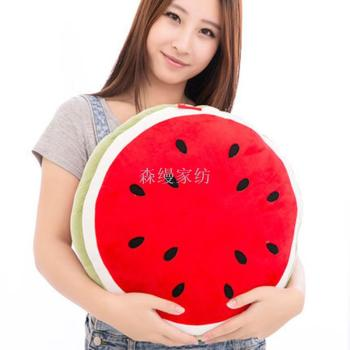 Watermelon waist cushions simulation embroidered fruit pillow pillow round children plush toys custom