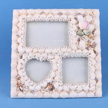 Pure natural shell photo frame creative porous triple frame