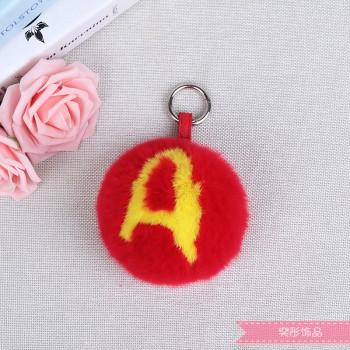 Letter hair ball fur pendant bag ornament key ring plush accessories female