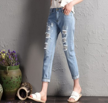 New loose waist nine points jeans female corners jeans female students Korean version of the tide