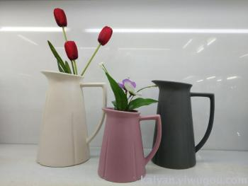 European Style Retro High Striped Ceramic Vase Crafts Decoration New House Restaurant TV Cabinet Decorative Floral Orna