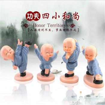 Car Decoration Resin Crafts Set Kung Fu Four Little Monks