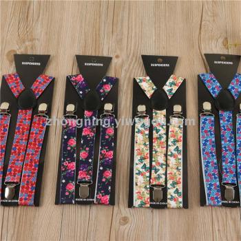 Floral Strap Male Ladies Casual Sling Clip Belt Pants Clip Fashion Leggings Trousers