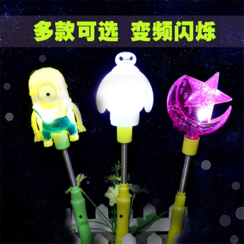 Large cartoon stick spring rod flash toy stall selling toy electronic light-emitting toys