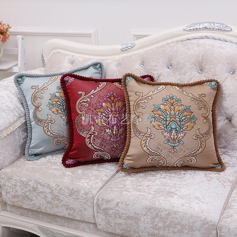 新款抱枕复古欧式提花方形抱枕套 家居客厅靠垫腰枕
