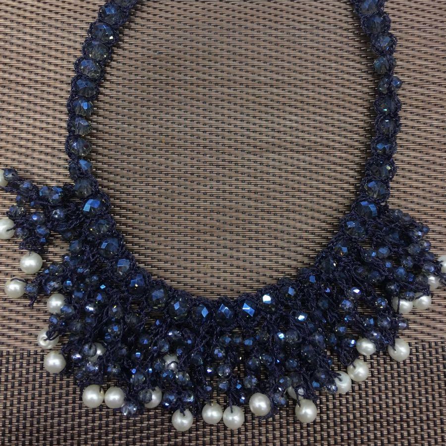 兰东服饰,手工钩织水晶项链女. 欧美短款项链