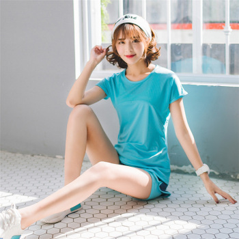Hollow Yoga Service Two-piece Set of loose breathable sports suit female quick-drying short-sleeved running