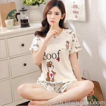 Summer new ladies pajamas XL code short sleeve cute cartoon home suits suit