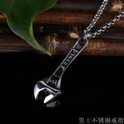Europe and the United States punk retro wrench pendant trend men titanium steel necklace pendant wrench  steel pendant