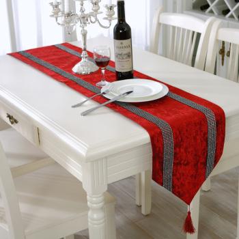 新屋新款雙鉆條紋桌旗歐式時尚大氣簡約現代桌墊鑲鉆桌布高貴奢華