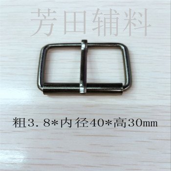 Wire roller pin buckles 4 cm diameter bright white 40mm
