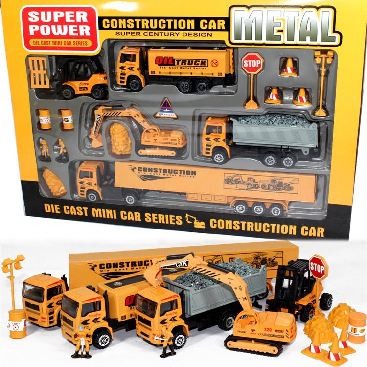 合金工程车套装 耐摔惯性男孩儿童玩具车挖掘机挖土机