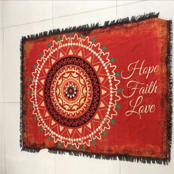 新屋外貿新款沙發披毯針織印花沙發巾花卉幾何圖沙發巾