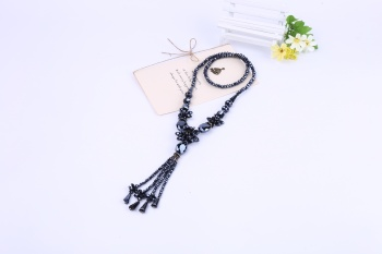 New fashion jewelry crystal agate Beaded sweater chain necklace retro Korean Korean female long long necklace