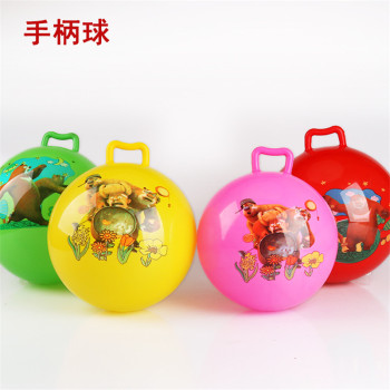Manufacturers selling inflatable ball toys children cartoon thickening handle hand pat jumping ball