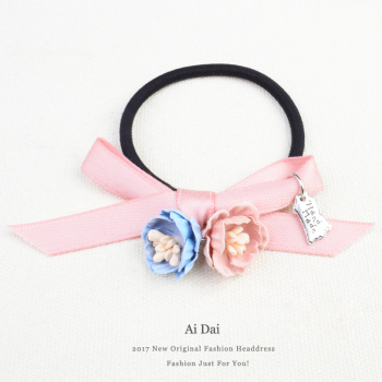 Love the Korean version of the lovely sweet flowers bow knot hair band hair band leather belt leather hair accessories