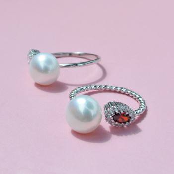 Threaded Rings Glossy Micro Necklace Natural Pearls High Glossy 925 Sterling Silver Open Rings