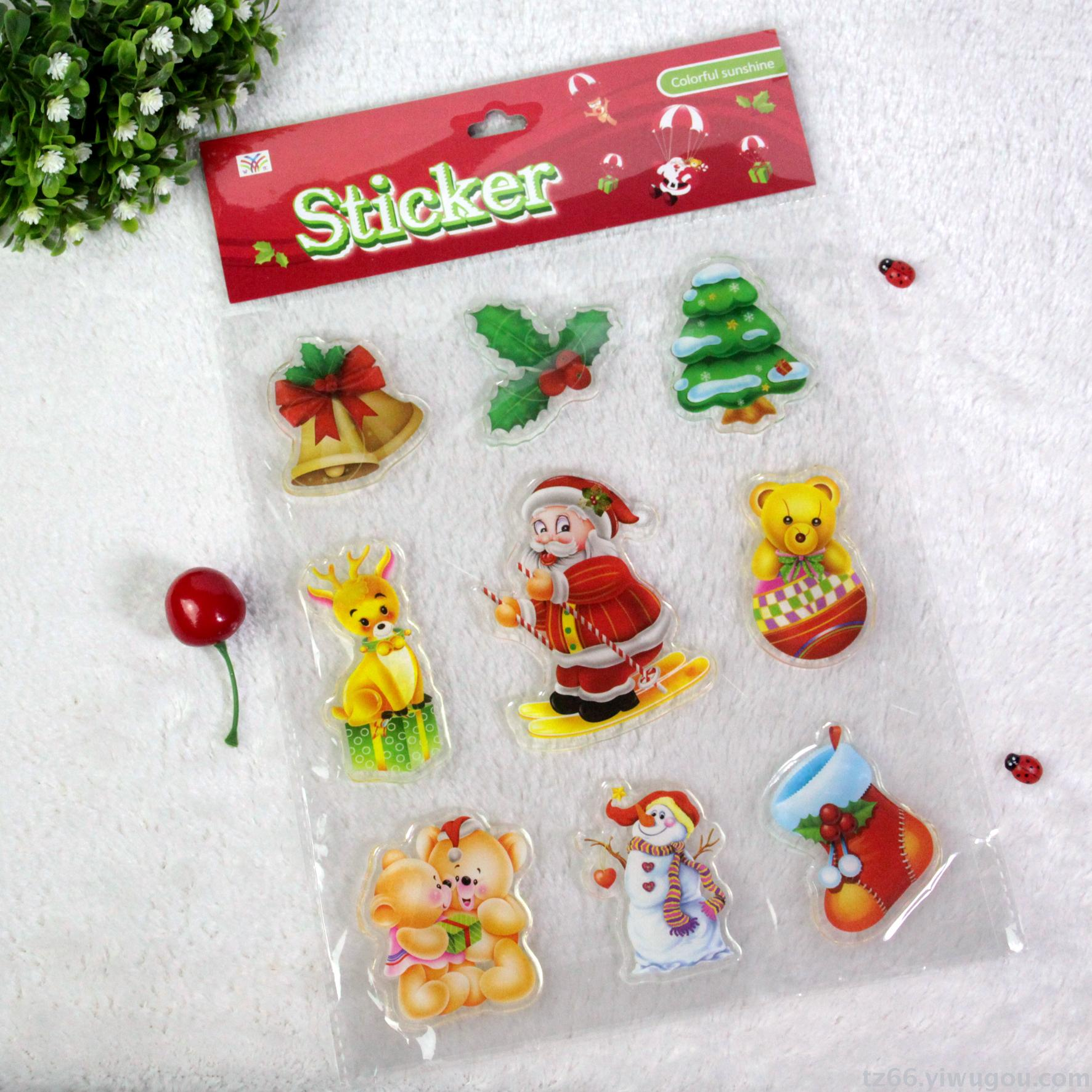 Christmas jelly stickers children stickers ice and snow princess soft tiles refrigerator glass window paste