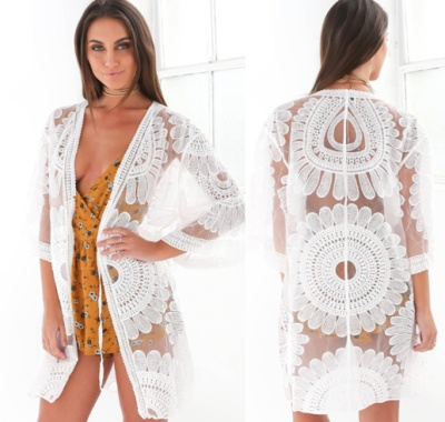 Circle sun flower lace embroidery sunscreen cardigan, vacation blouse