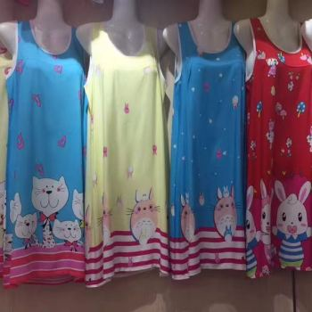 Yiwu buy sweet trade summer cotton silk pajamas children's dress