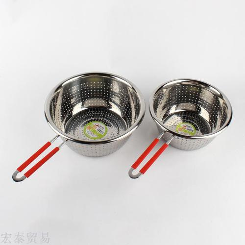 Stainless steel dish with more rice sieve 1.2 cm round wash wash rice basin wash rice sieve drain basin