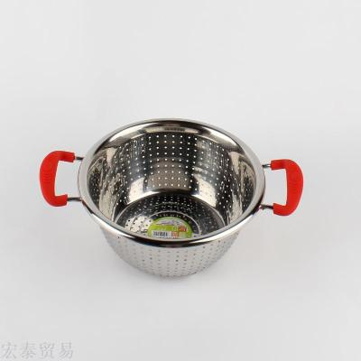 Wash the pot with rice sieve 1.2 arc color steel binaural fruit and vegetable screening rice sieve drain basin