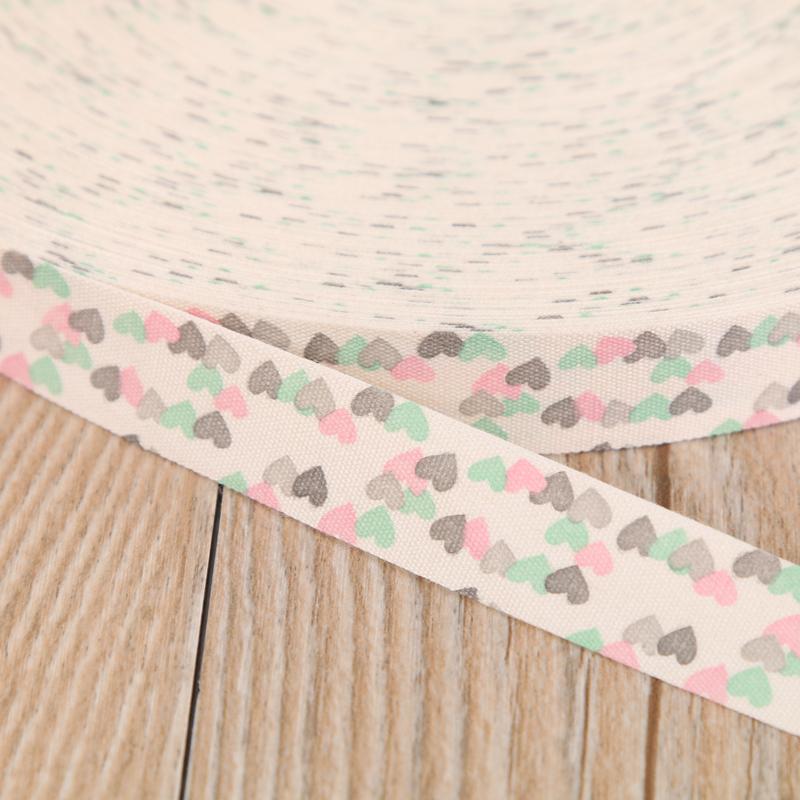 厂家直销 白底纯棉彩色爱心印花织带辅料
