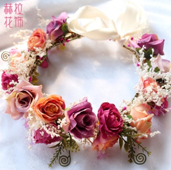 Hera 2017 new hair ornaments simulation wreath headdress rose hair take the lead flower seaside vacation