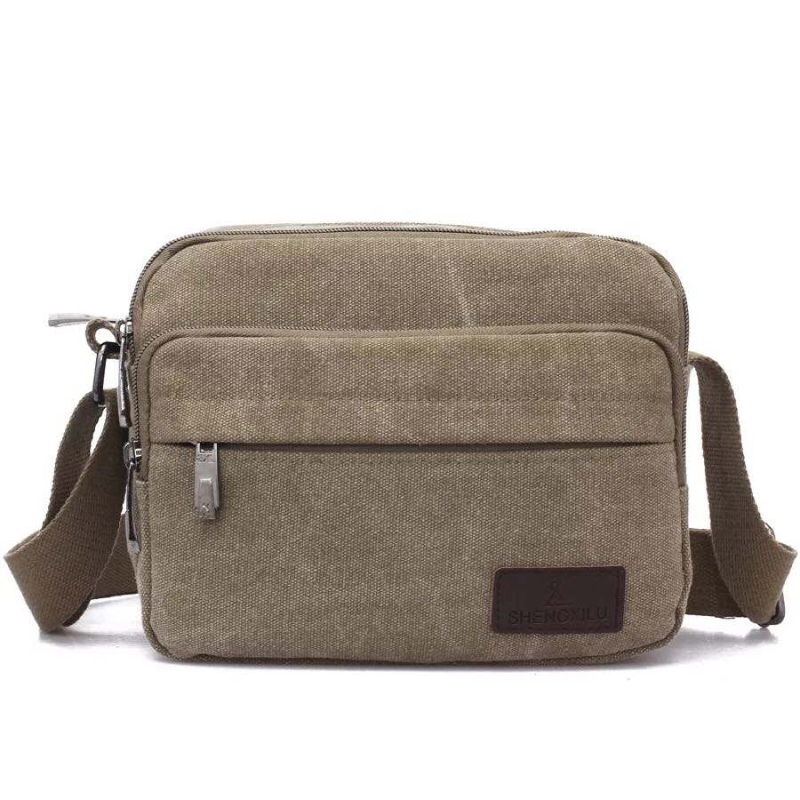 This style is fashionable men s sport canvas square bag zipper large  capacity outdoor men s and women s fdb324b2fd833