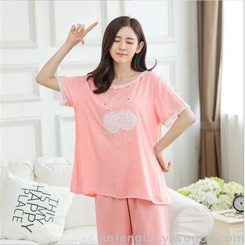 explosion paragraph Ms. cotton silk pajamas suit short sleeve cotton thin section of the lovely home service