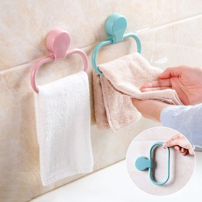 Paste towel ring kitchen wipes pajamas bathroom free perforated towel racks hanging towel racks