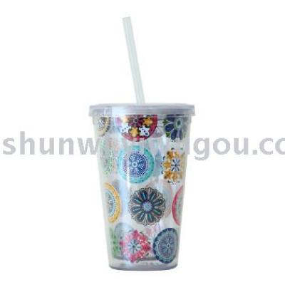 Straw cup plastic cup insert advertising cup 350ml