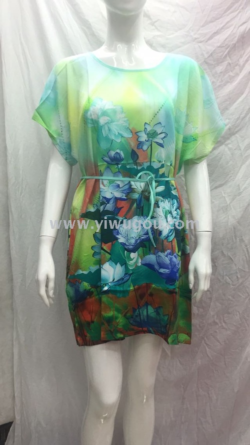 Burst people cotton digital dress, selling Southeast Asia, Europe and the United States