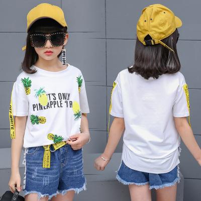 New girl t-shirt summer big children's clothing coat wild clothes Korean version of children's short-sleeved women