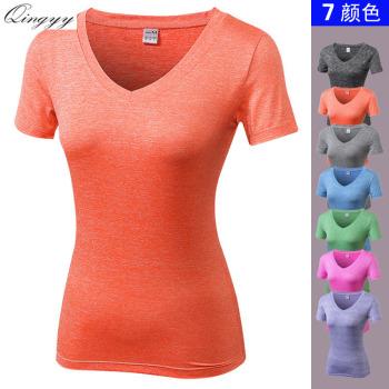 Summer fitness short-sleeved short-sleeved running short T female models V-neck sportswear