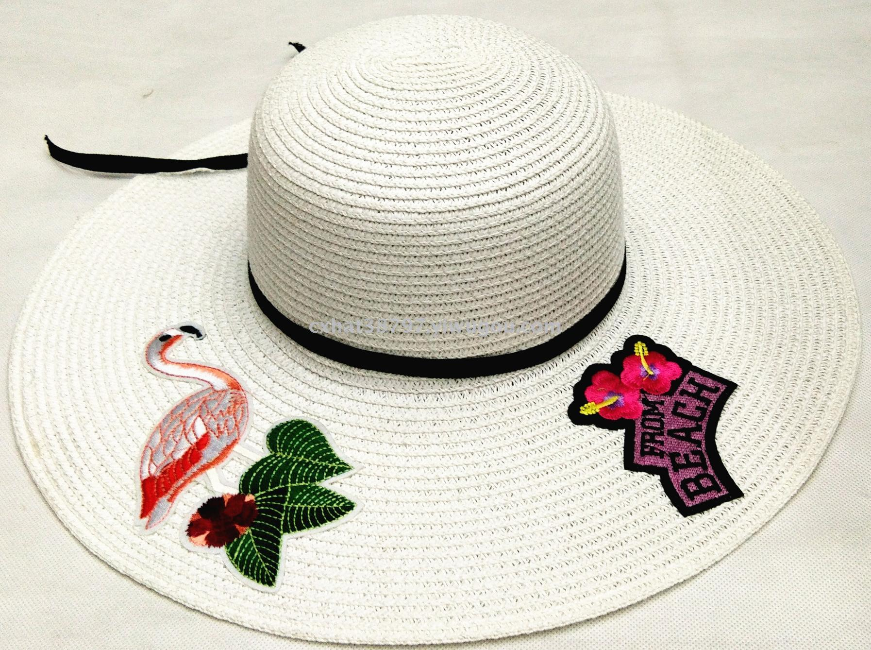 夏季防晒帽 大沿沙滩帽 简单可爱贴花帽