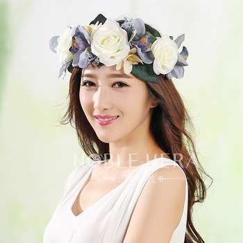 Exaggerated Europe and the United States large flower ribbon adjustable wreath hair band headdress hat