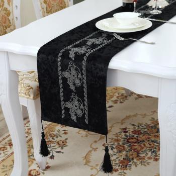 新款平口吊嘴水钻桌旗简约现代中式桌旗茶几布桌布奢华外贸桌旗