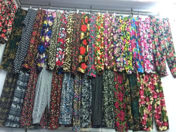 Middle and old summer ice silk printed seven pants