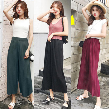 Tiberian summer thin section pleated loose waist chiffon wide leg skirt pants nine points underwear