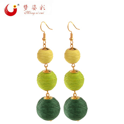 2017 new Bohemian national wind winding earrings high-end long earrings