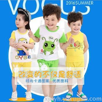 Summer children 's cotton short - sleeved suit boys and girls cartoon kindergarten class clothes baby shorts