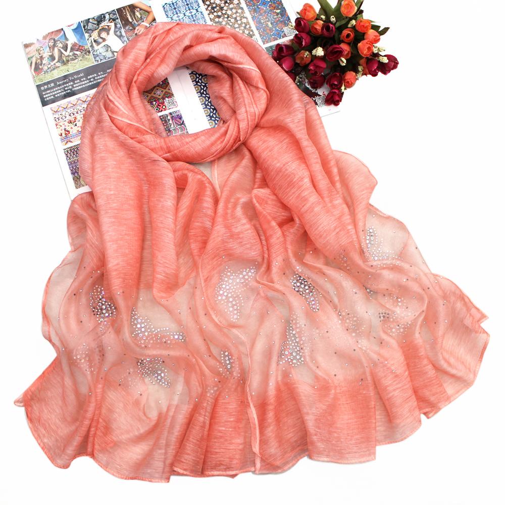 新款围巾 丝晴脏染烫钻围巾披肩 蝴蝶烫钻围巾