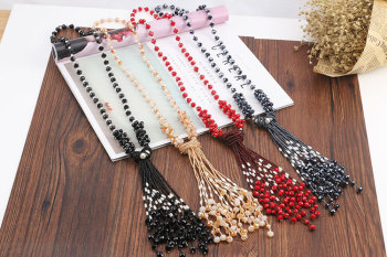 Korean version of the crystal tassel sweater chain hand diy beads pearl crystal mix female long necklace fashion jewelry