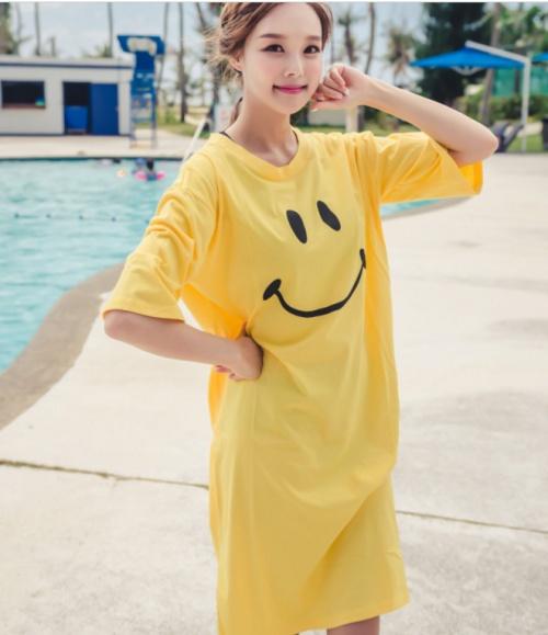 Wholesale yellow cotton smiling face beach bikini gown home service pajamas
